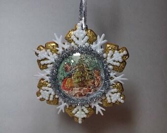 Ceramic Snowflake Vintage Ornament