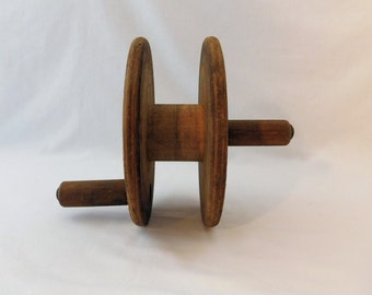 Vintage Industrial Spool - Wood Winder - Primitive Wood Reel