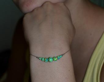 OPAL BRACELET // Opal Ball Bracelet - Opal Jewelry - Kiwi Opal Bracelet Silver - Dot Bracelet - Opal Bead Bracelet - Opal Charm Bracelet