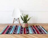"Moroccan Berber Rug, ""The Zariah ,"" Kilim, Berber Rug, Blue Rug, Entryway Rug, Bohemian Decor, Boho Rug, Southwestern Rug, Navajo Rug"
