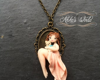 Tiny chibi in her pink dress with a kawaii teddy bear - Bronze cameo of 18 per 25 mm - Polymer clay pendant
