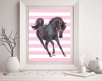 55% Off nursery print, Horse picture, 8x10 textured photograph, Nursery room decor, Animal picture, Horse theme nursery, Pink and black