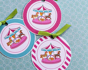 Pink Carousel Printable Party Favor Tags, Cupcake Toppers, Printable Carousel Party Favors