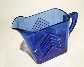 Hazel Atlas Cobalt Blue Glass Creamer Chevron Pattern Creamer, Vintage Creamer