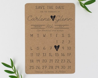 Kraft Paper Calendar Save the Date - Country Charm