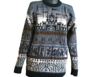 Vintage 80's woolen sweater printed  Middle Ages pattern pure wool pullover Past Time vintage sweater made in the UK