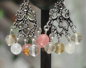 Volcano Rose Quartz Chandelier Earrings ~ Tibetan Silver ~ Boho Jewellery ~ Bohemian Pink ~ Cherry Quartz ~ Birthday Gift ~ Anniversary Gift