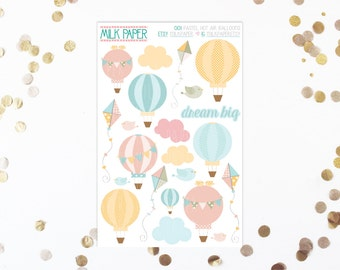 SHOP CLOSING 50% off - Pastel Hot Air Balloons Stickers [Set of 22] -- 001