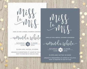Miss to mrs bridal shower invitation, classic bachelorette party printable invite, monochrome invitation, ANY color, personalized DIGITAL