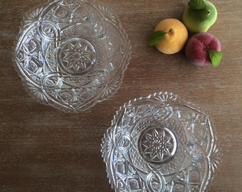 Vintage Decorative Glass Bowls Glass Candy Dishes Set of Two
