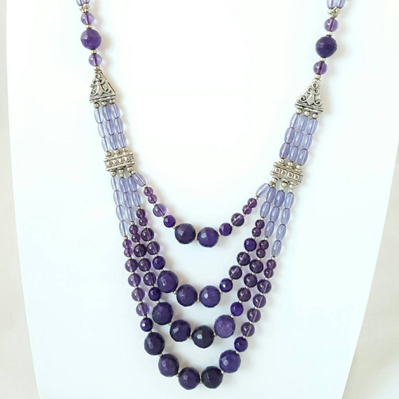 amethyst bead necklace necklace layered amethyst