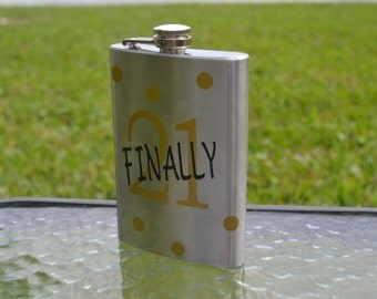 21st Birthday Flask, Finally 21, 21st birthday gift, drinking gift, 21st birthday,