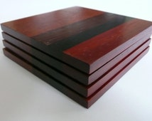 Padauk, Lacewood and Wenge Exotic Hardwood Coasters, Set of 4