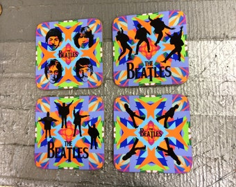 The Beatles Coasters - Singles or Sets - John Lennon, Paul McCartney, George Harrison and Ringo Starr - Psychedelic