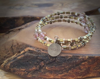 Army Green and Peach Three Loop Memory Wire Bracelet with Wish Charm