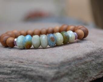 Sandalwood Bracelet with Mystique Aquamarine, Peruvian Agate Bracelet, Sandalwood Jewelry, Peruvian Jewelry
