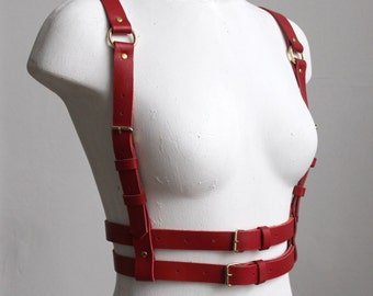 Red leather harness | Body harness | Red Harness belt | Bdsm harness | Fetish harness | Red body belt | Leather body belt | Chest harness