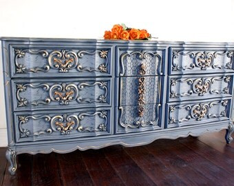 SOLD - Dresser, French Provincial Dresser, Vintage Dresser, Buffet, Painted Furniture, Hand Painted, Distressed Furniture