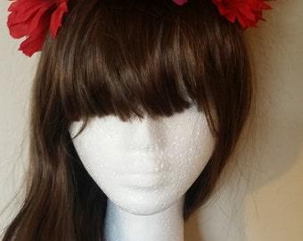 Hippie * Red * LED Light Up Flower Crown * Headband * Rave * EDM Fairy * Battery * Bridal * Wedding