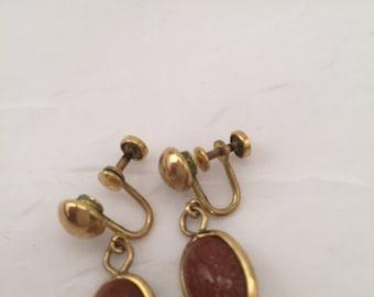 Vintage Amco Earrings, goldstone drop earrings, 1/20th 12K Gold Filled, AMCO