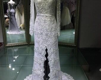 Moroccan Long Sleeve Takschita Evening Wedding Bridal Dress