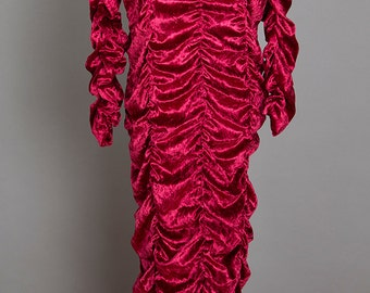 Wine Red Velvet Coffin Ruched Hobble Maxi Dress - Add Some Color to the Goth Morticia Look!  (Size Large)
