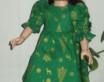 "18"" Christmas doll dress, Christmas green and gold doll dress, short sleeve chrismas doll dress"