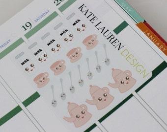 Kawaii Planner Stickers, Tea Planner Stickers, Erin Condren Planner Stickers, Kawaii Stickers, Kawaii Tea Stickers