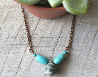 Jasper necklace, Jasper drop, turquoise, teardrop