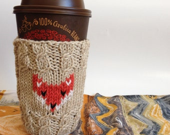 Coffee Cup Cozy, Coffee Knit Cabled Sleeve Red Fox, Reusable Beige Sandy Color Coffee Mug Cozy, Hand Knit Gift Fox Animal Lovers under 25