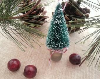 Hanging Christmas Tree Thimble, Thimble Christmas Tree Ornament, Thimble, Christmas Tree Ornament, Thimble Ornament, Tiny Christmas Tree