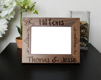 Personalized Picture Frame, Walnut Picture Frame, Personalized Photo Frame, Wedding Gifts, Custom Walnut Picture Frame, --PF-WAL-THEHILTONS