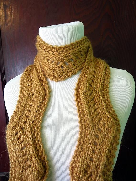 Knitting Zig Zag Scarf Pattern : Hand knit metallic gold scarf zig zag by dawntoduskknits
