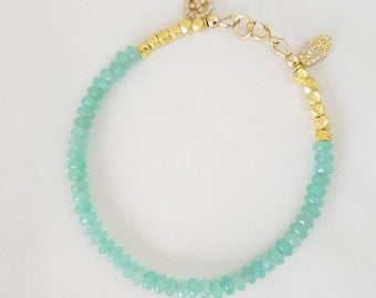 Green Quartzite with Gold Beads Hamsa and Peace Charms Bracelet