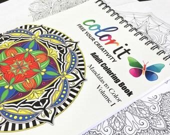 50 Original Mandala Designs - Mandalas To Color Volume 1 by ColorIt - Adult Coloring Book -Hardback, Spiral Binding, Blotter,Acid Free Paper