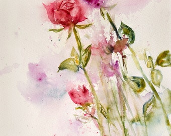 Watercolor of red roses, Original painting of roses, Original Watercolour, Watercolor,flowers - gift idea for mother's day