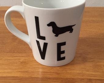 Dachshund LOVE Mug - Doxie Silhouette Gift