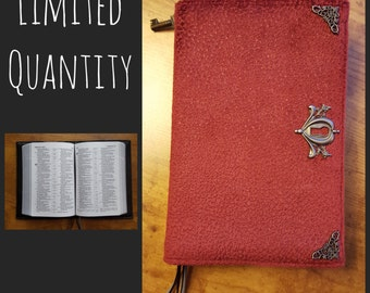 Custom Revised NWT Small Pocket Bible Cover in Oxblood Suede