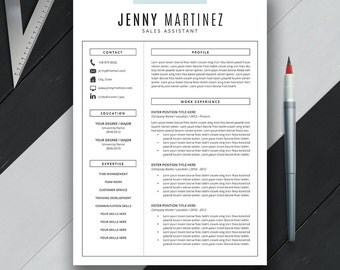 Resume Template CV Template, Cover Letter, US Letter, A4, Word, Professional, Creative, Modern Resume, Instant Digital Download, 'JENNY'