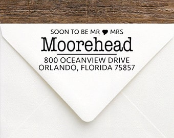 Soon To Be Mr and Mrs Stamp - Personalized Wedding Gift - Future Mr & Mrs Name Stamp - Soon To Be Mrs Custom Wedding Return Address Stamp