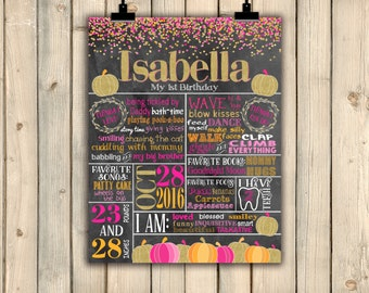 Pumpkin First Birthday Chalkboard Poster, Pink and Gold Sweet Little Pumpkin 1st Birthday Sign, Fall Halloween Confetti Gold Glitter DIGITAL
