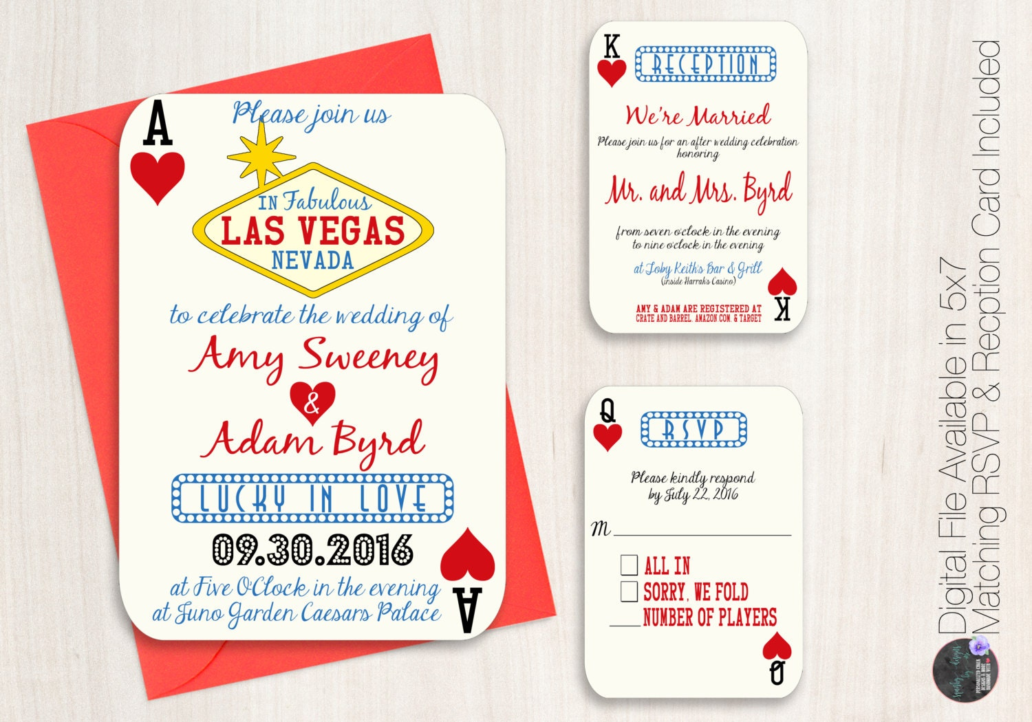 Las Vegas Wedding Invitation Wording: Las Vegas Wedding Invitation Suite Poker Playing Card Vegas