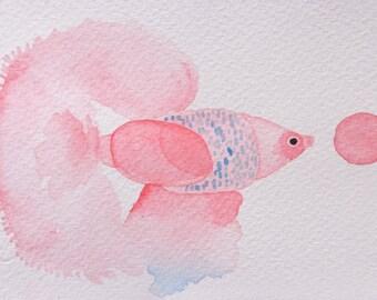 fish original watercolor