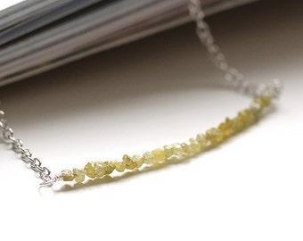 Genuine Yellow Diamond Necklace, 1.01 Ct Weight, Natural Raw Diamond Bar, Real Rough Diamond Beads, 925 Sterling Silver, April Birthstone