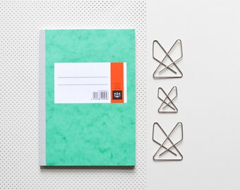 Vintage DIN A5 A6 Schulheft, HIG Notizheft, liniertes Notizbuch, Schreibheft, gebundenes Heft, grün marmoriertes H004