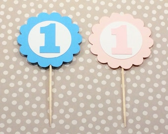 12 First Birthday Scalloped Cupcake Toppers, Girl's Birthday, Boy's Birthday, Number One Cupcake Toppers, 1st Birthday Decor, Pink, Blue