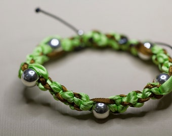 Sterling Silver Woven Green and Brown Friendship Ribbon Bracelet, Plaited Bracelet, Adjustable Size