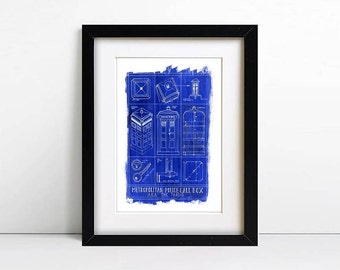 SALE A3 Illustrated Doctor Who Tardis Blueprint Poster Print 350gsm
