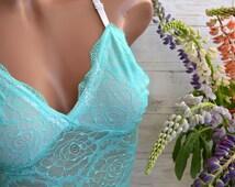 Mint lingerie/ Lace bralette/ Soft cup bra/ Sleepwear/ Boho bra/ Lace lingerie/ Sheer bra