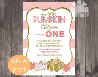 Our Little Pumpkin |  Baby's First Birthday Party Invite, 1st birthday invitation - INSTANT DOWNLOAD DIY